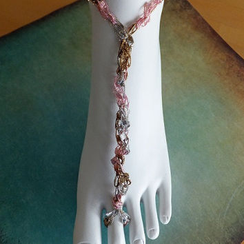 Shimmering Shades of Pink,Silver and Gold Crocheted Trellis Ribbon Ladder Yarn Barefoot Sandals