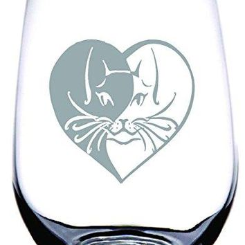 IE Laserware Cat Laser Etched Engraved Wine Glass 17 Ounce Stemless Wine Glass  The perfect gift for Cat Lovers