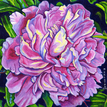 "Giclee print on canvas, matted - The Peony - 8"" x 10""  - Signed/Editioned"