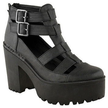 LADIES WOMENS CHUNKY CLEATED SOLE HIGH HEEL PLATFORM CUT OUT BOOTS SHOES SIZE