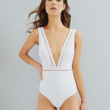 Cut-out V-neck swimsuit - Ivory | Swimwear & Beachwear | Ted Baker