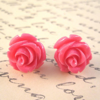 Pink rose earrings - bright pink roses on titanium studs - NICKEL FREE for sensitive ears