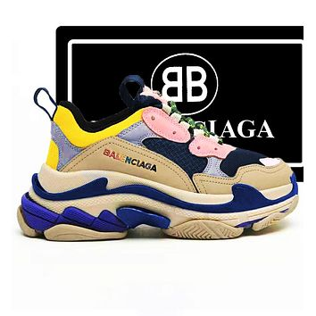 Balenciaga Trending Women Men Shoes Classic Triple Sneaker Yellow Purple Pink blue