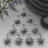 10 Silver Tone Sunflower Charms