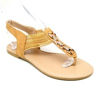 Women's Camel Sandal with Elastic
