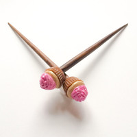 Vanilla Cupcake With Pink Glitter Frosting Kawaii Pastry Hair Sticks Single OR Pair
