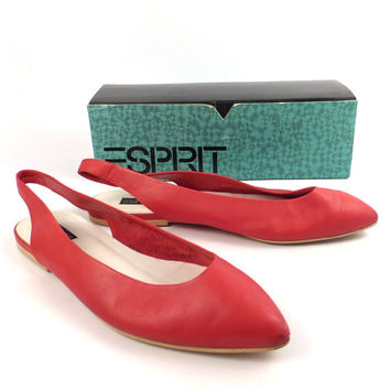 Esprit Flats Shoes Vintage 1980s Leather Red Women's size 10