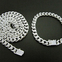 High quality 925 sterling silver plated 10MM chain necklace bracelet Fashion Men's Jewelry Sets Free Shipping 3set/lot
