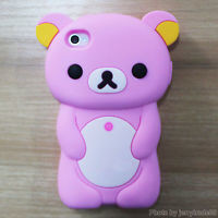 Animated Nice Candy Pink Bear Silicone Skin Cover Case for Rilakkuma iPhone 4 4S