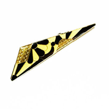 Enamel Pin, Art Deco Brooch, Black & Yellow Pin, Pierre Bex Style, Catherine Popesco Style, Vintage Jewelry