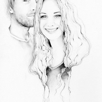 Custom Portrait Couples Portrait Wedding Anniversary Gift Pencil Drawing Fine Art Illustration Original Personalized Digital Print Upload