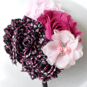 Valentine's Day headband, Pink and black headband, Teen headband, Girls flower headband, Adult flower headband, Women's flower headband