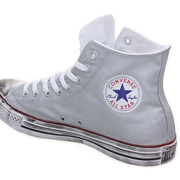 Custom converse, Silver Converse chuck by CUSTOMDUO on ETSY