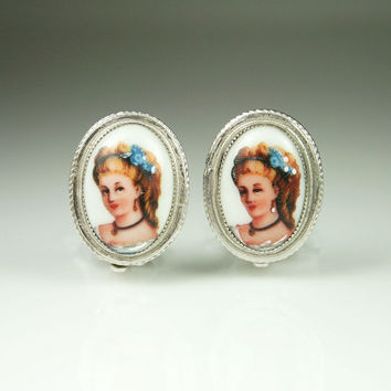 Vintage Earrings Whiting and Davis Porcelain Limoges France Cameo Jewelry