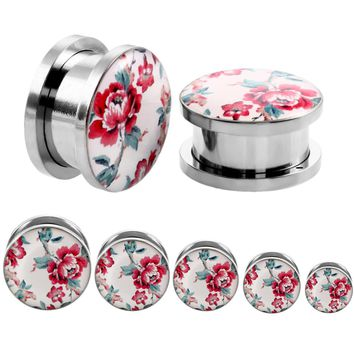 Red Flower Design Round Steel Ear Plugs and Tunnels Piercing Ear Gauges Stretcher Body Jewelry Piercings Flesh Plugs