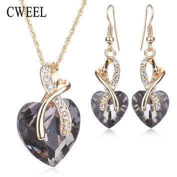 CWEEL Women Wedding Accessories African Beads Jewelry Sets Costume Gold Plated nigerian Imitated Crystal Love Necklace Earring