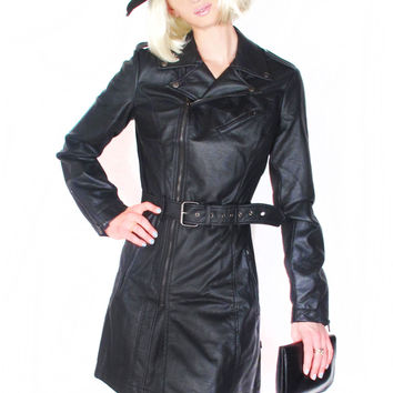 Moto Faux Leather Trench - 50% OFF