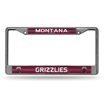 Montana Grizzlies NCAA Bling Glitter Chrome License Plate Frame