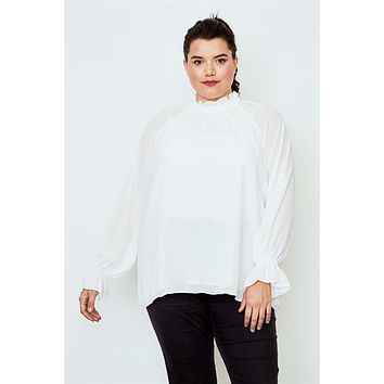 Ladies Plus size high neck ruffle long sleeve top (a)