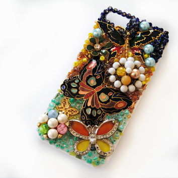 iPhone 5 Case, Butterfly, Flowers, Vintage, Beads, Kawaii, Lolita, Holder, Cover - Fluttery Friends