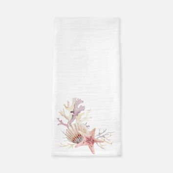 Coral Starfish and Shell Tea Towel