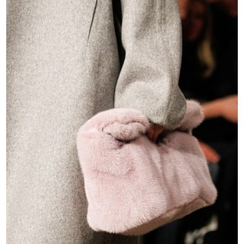 Fluffly roll fur clutch handbag purse