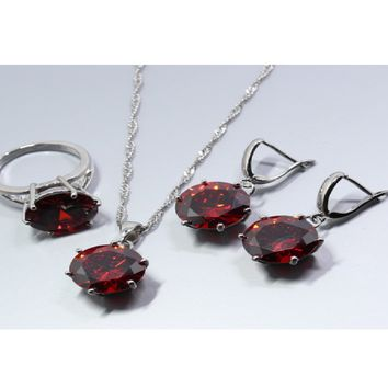 Bridal Red Garnet necklaces with ear stud