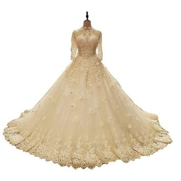 Wedding Dress New Design The High-end Half Sleeve Crystal Embroidery Classic Chapel Train Princess Ball Gown