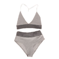 Grey Halter Bra & Briefs Set