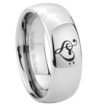8mm Music & Heart Mirror Dome Tungsten Carbide Men's Band Ring