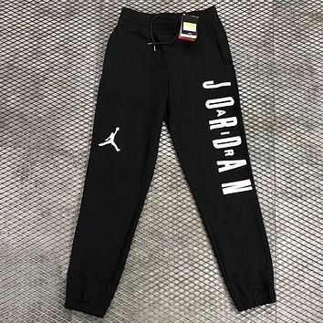 Nike Air Jordan Trending Women Men Loose Print Sport Pants Trousers Sweatpants Black I