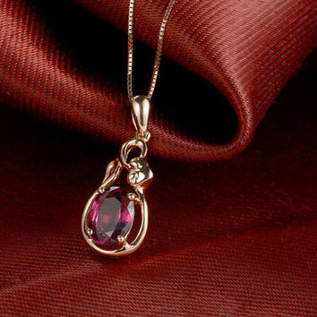 18k Rose Gold Rubellite Red Tourmaline Pendant Necklace Wedding Birthday Valentine's Mother's Day