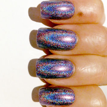 Radiant Orchid Fake Nails Holographic