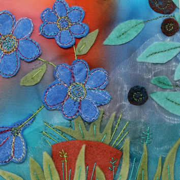 Blue blossoms textile art