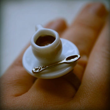 Over coffee Ring, #food, #minature, #coffee