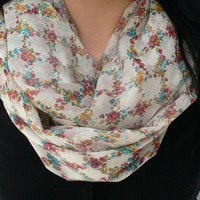 Floral Circle Scarf. Spring Infinity Scarf. Tube Scarf. Women Accessories.