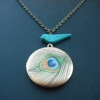 beautiful feather locket necklace by Lana0Crystal on Etsy