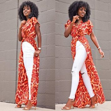 New Bohemian maxi dress summer autumn women boho floral printed beach dress african robe sexy clothes high split party dres