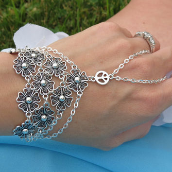 Slave Bracelet, Bracelet, Ring Bracelet, Flower Power Bracelet, Hippie Bracelet, Peace Sign Jewelry, Beach Bracelet, Hand Chain