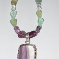 Fluorite necklace with pendant.