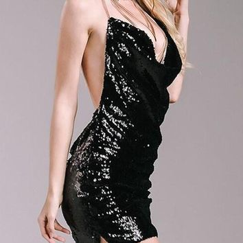 Black Plain Sparkly Sequin Draped Halter Neck Backless Club Mini Dress