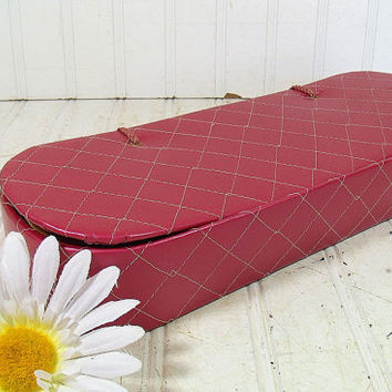 Vintage Mauve Satin Quilted Glove Box - Retro Rose Pink Vanity Luxury Organizer - Shabby Chic Cerise Storage Case - Matching Satin Tie Hinge