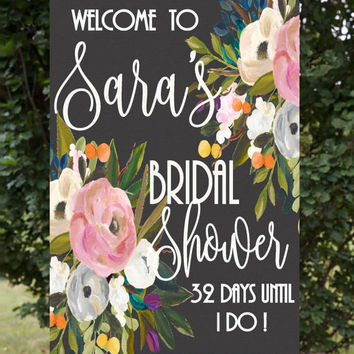 Bridal Shower Sign, Bridal Shower Welcome Sign, Bridal Countdown, Wedding Countdown, Brunch with bride, Personalized, Custom Shower poster,