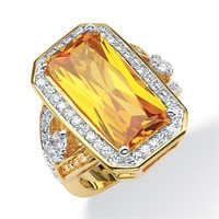 PalmBeach Jewelry 500868 Jewelry,45.5 TCW Cubic Zirconia 14kt. Yellow Gold Plated Cocktail Ring, Fashion Jewelry PalmBeach Jewelry Rings Jewelry