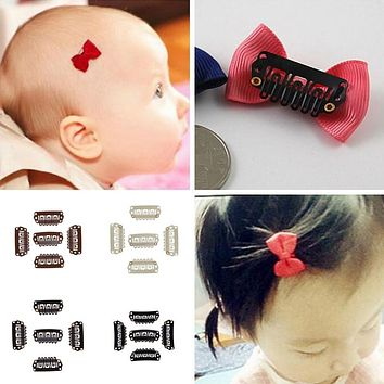 50 Pcs Solid Dot Baby Mini Small Hair Clips Weft Snap Clips Hair Piece Extensions Accessories