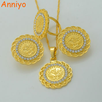 Anniyo Coin Jewelry Sets With Rhinestone Necklace Earring Ring Gold Color Turks Specie Arab/Africa/Middle East/Turkey #014906