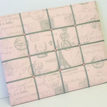 Pink French Postage Stamp fabric Memo Board