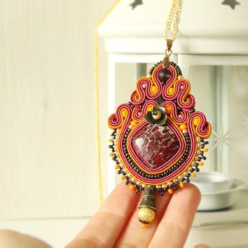Pink indian style pendant, soutache pendant, pink necklace, pink orange pendant, indian style jewelry, hand embroidered soutache jewelry