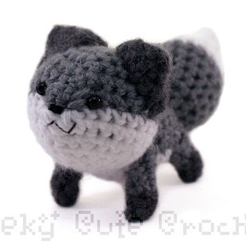 Gray Fox Amigurumi  crochet plush toy  MADE TO by GeekyCuteCrochet