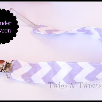 Fabric Pacifier Clip, Lavender Chevron Girl Pacifier Clip leash- Toy Leash